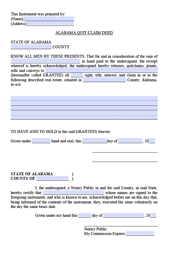 Alabama Quit Claim Deed Form - Deed Forms : Deed Forms