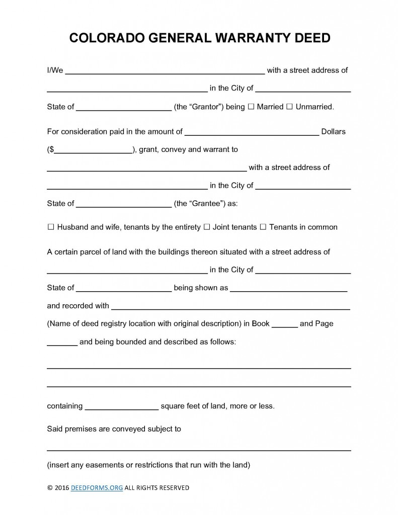 Colorado General Warranty Deed Form