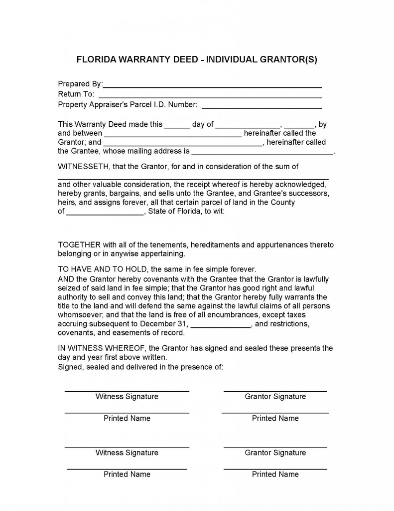 Florida General Warranty Deed Form