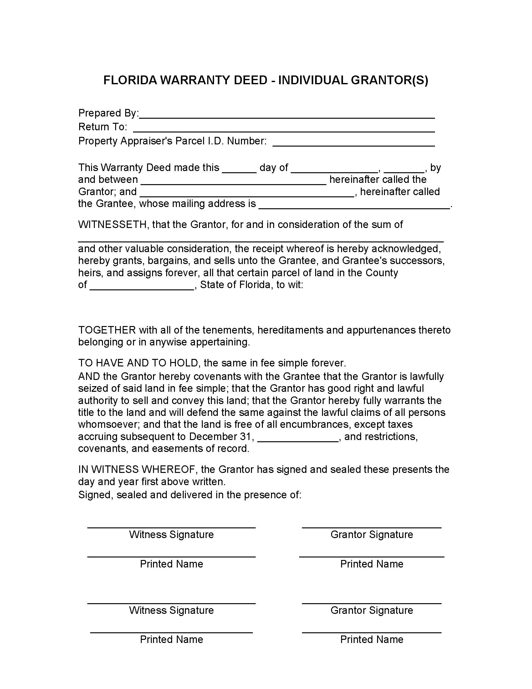 Florida General Warranty Deed Form Deed Forms Deed Forms – General Warranty Deed