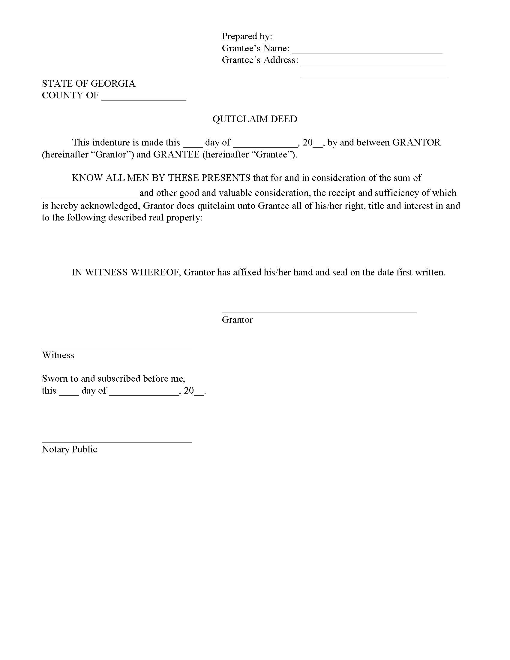 Georgia Quit Claim Deed Form - Deed Forms : Deed Forms