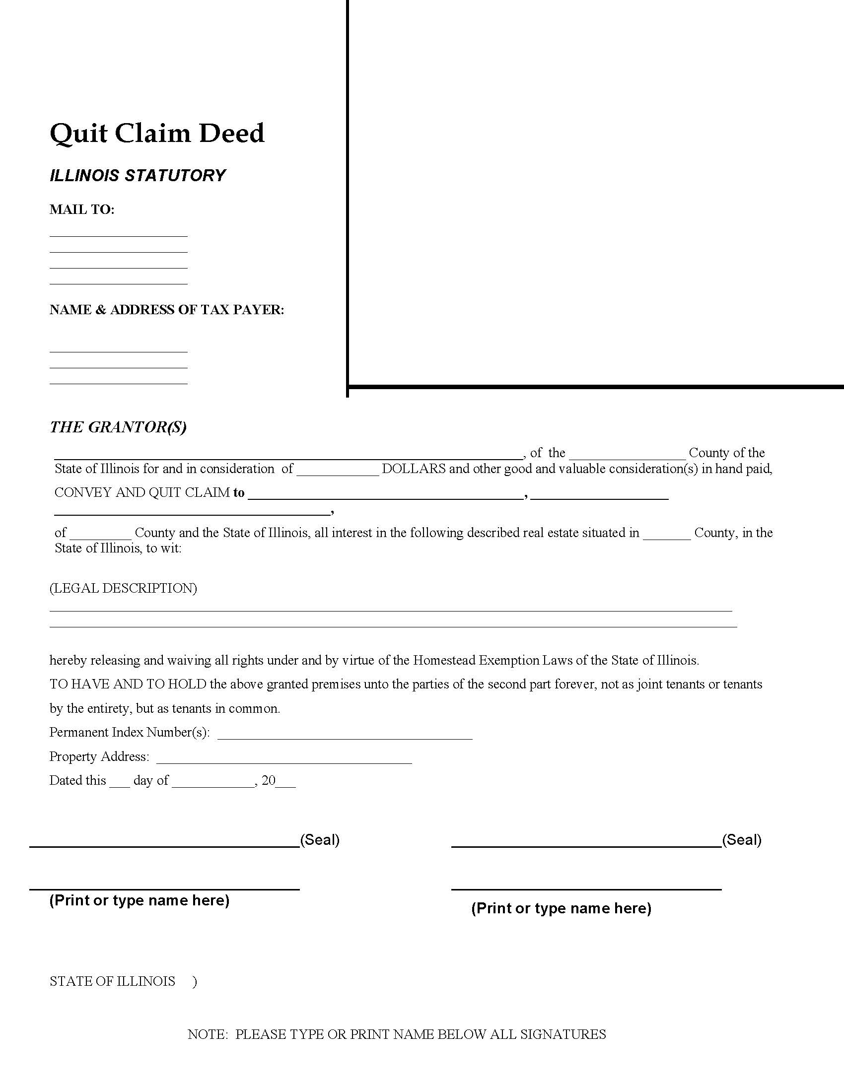 Illinois Quit Claim Deed Form - Deed Forms : Deed Forms