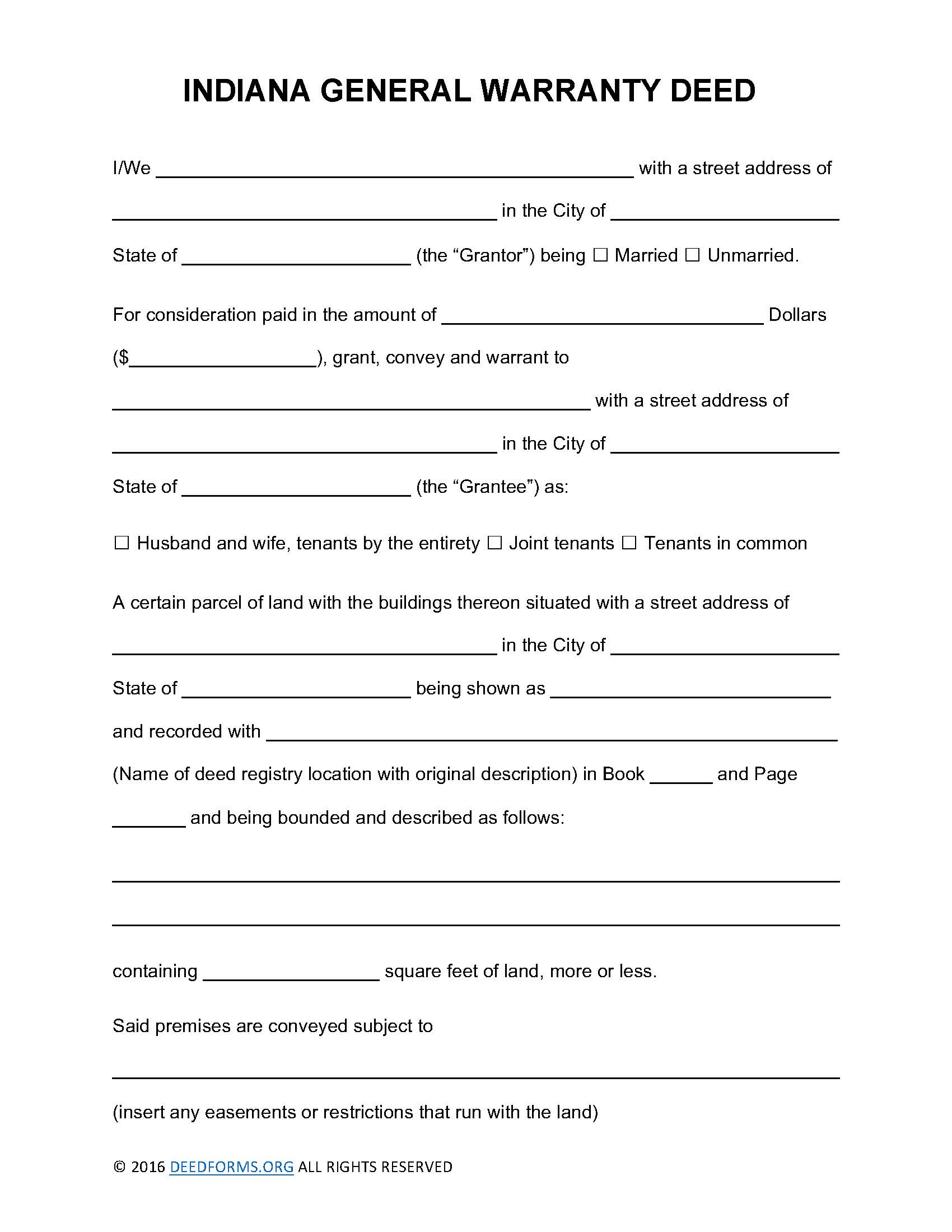 Indiana General Warranty Deed Form - Deed Forms : Deed Forms