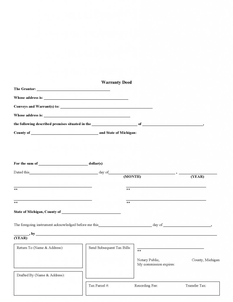 Michigan General Warranty Deed Form - Deed Forms : Deed Forms