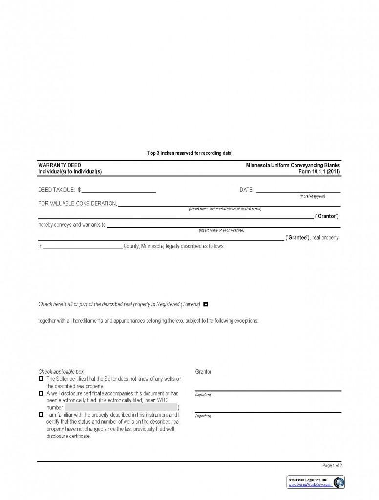 Minnesota General Warranty Deed Form