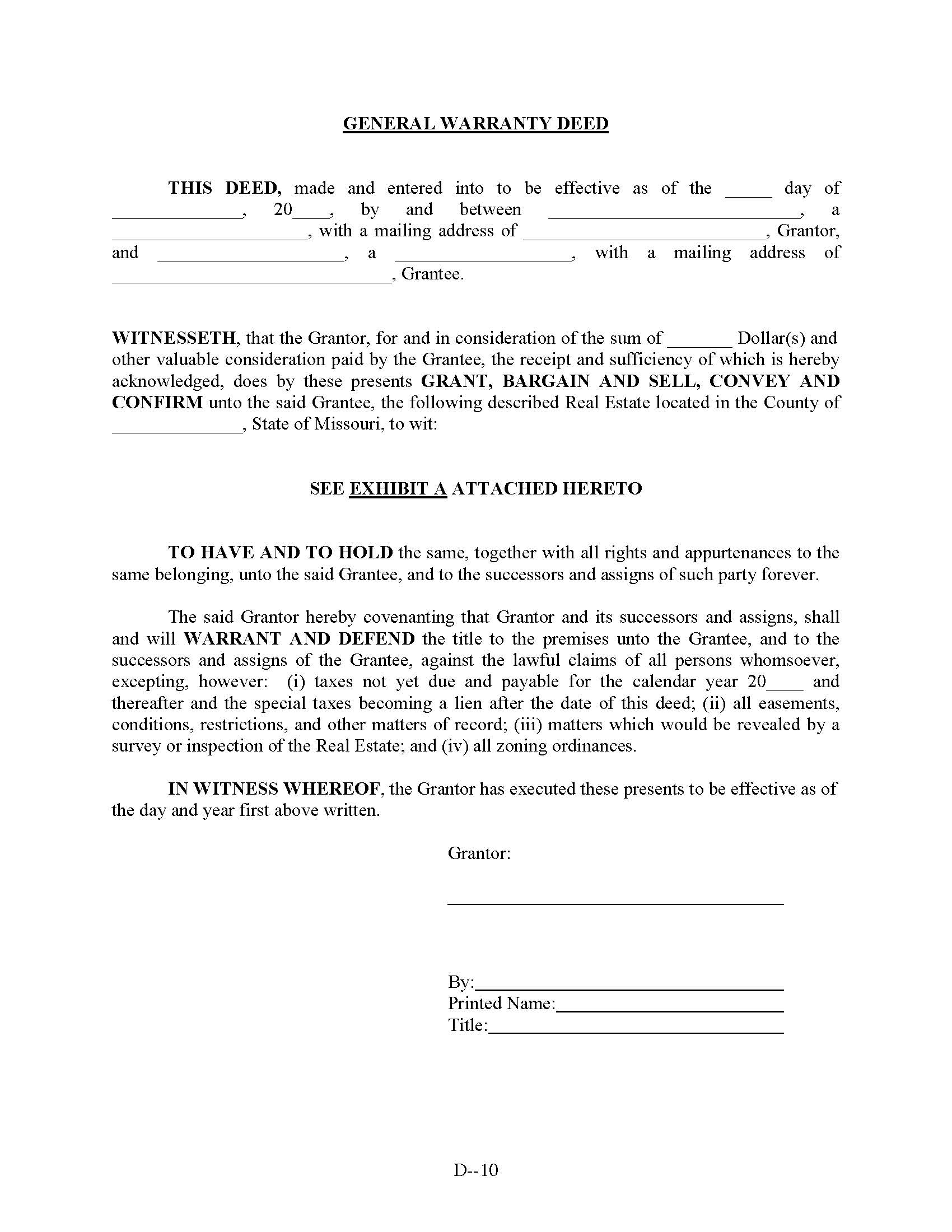 Missouri General Warranty Deed Form Deed Forms Deed Forms – General Warranty Deed