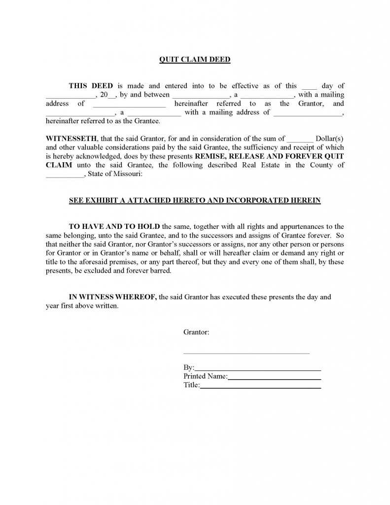 Amazing Missouri Quit Claim Deed Form