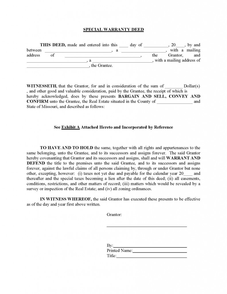 Superb Missouri Special Warranty Deed Form