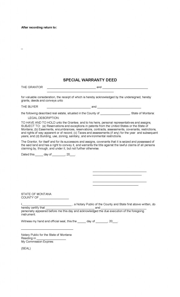 Montana Special Warranty Deed Form - Deed Forms : Deed Forms
