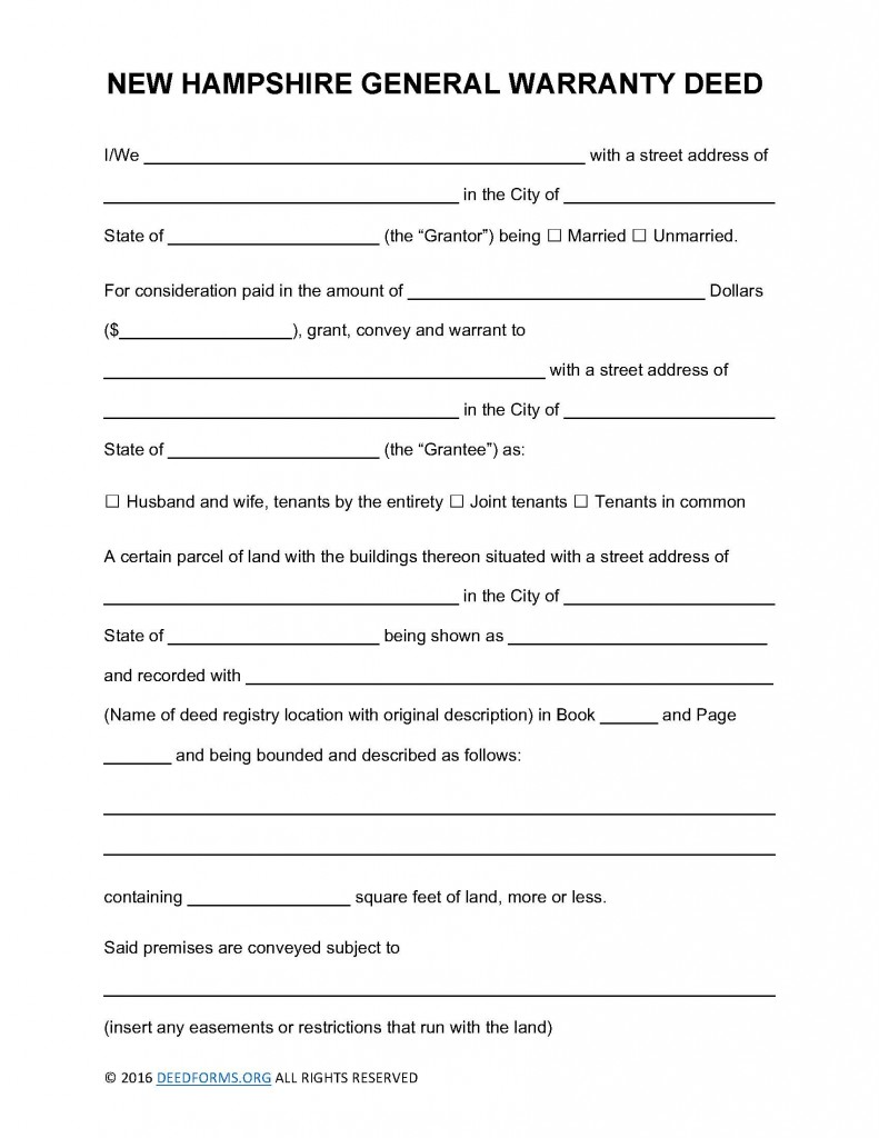 New Hampshire General Warranty Deed Form