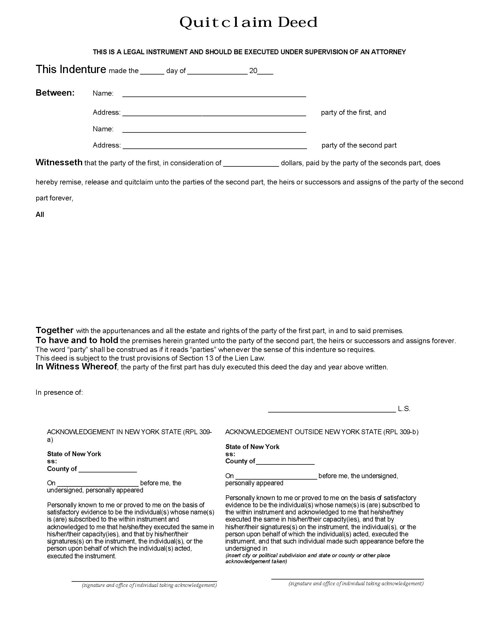 New York Quit Claim Deed Form - Deed Forms : Deed Forms