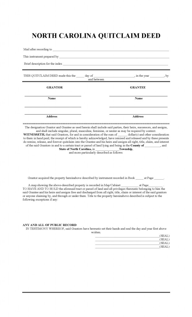 North Carolina Quit Claim Deed Form - Deed Forms : Deed Forms
