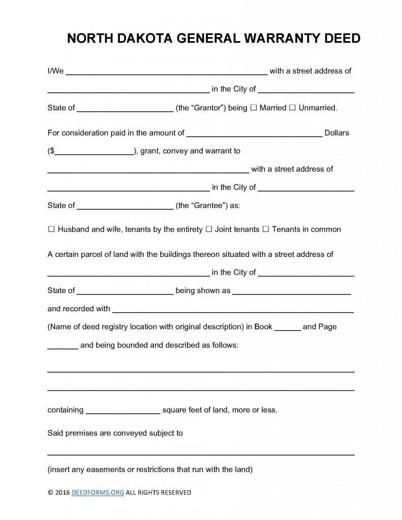 North Dakota General Warranty Deed Form