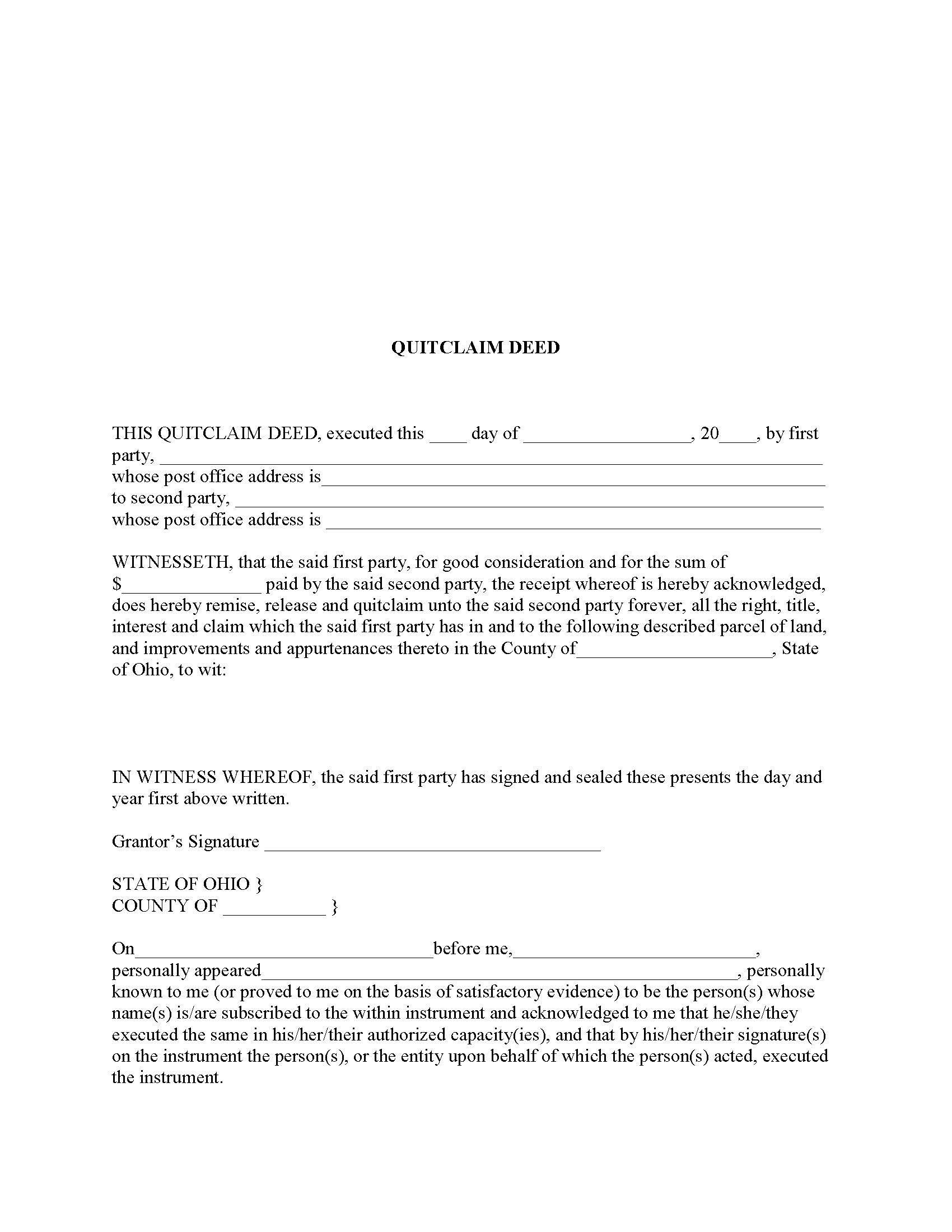 Ohio Quit Claim Deed Form Deed Forms Deed Forms – Quick Claim Deed
