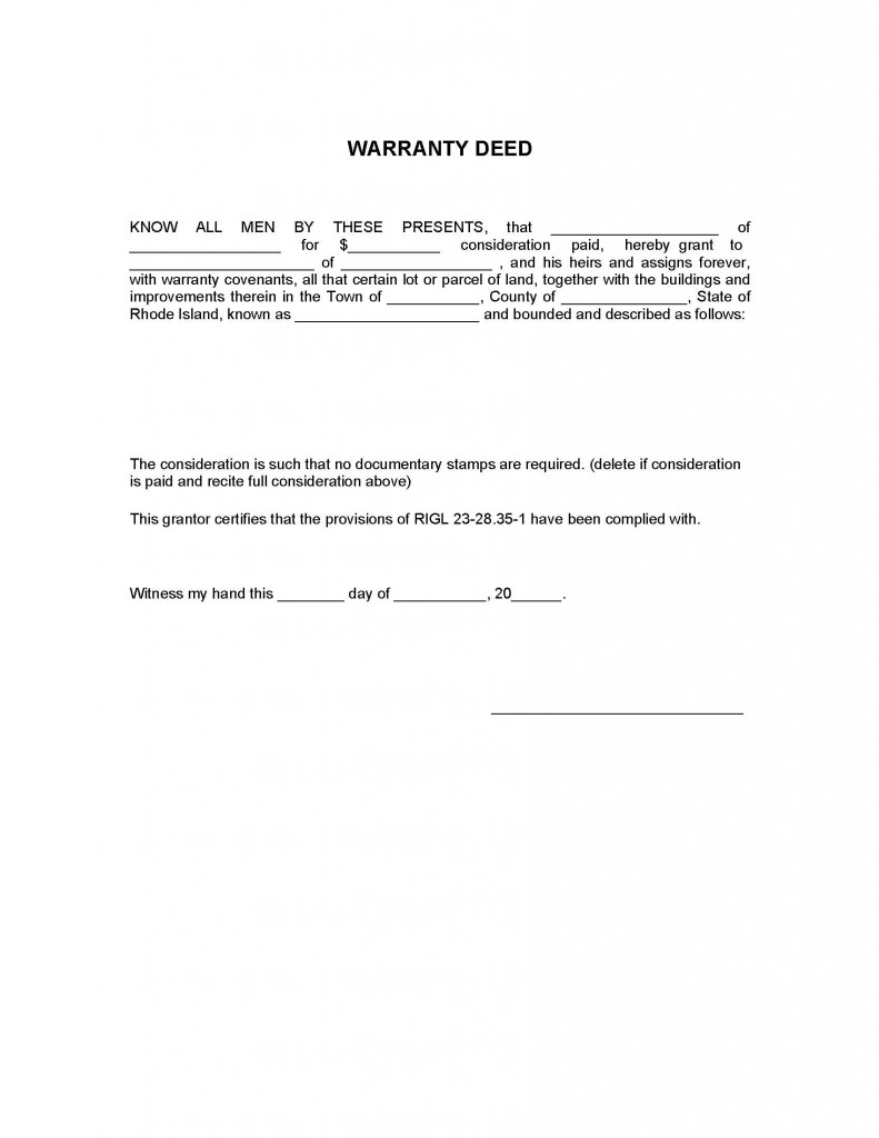 Rhode Island General Warranty Deed Form