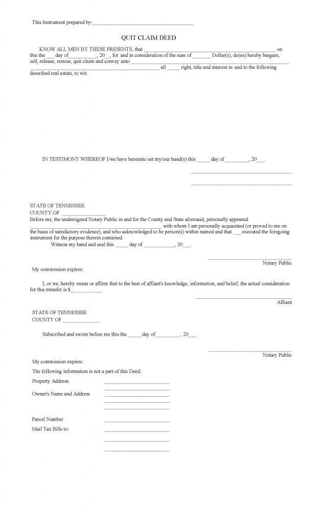 Tennessee Quit Claim Deed Form - Deed Forms : Deed Forms