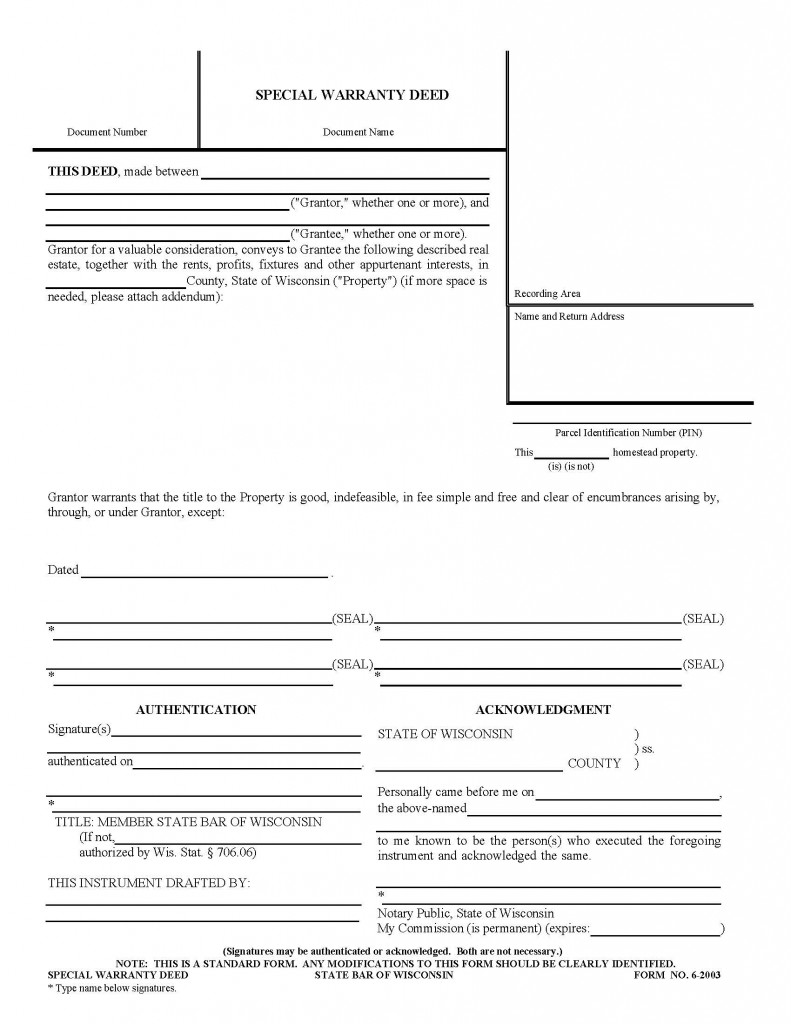 Wisconsin Special Warranty Deed Form