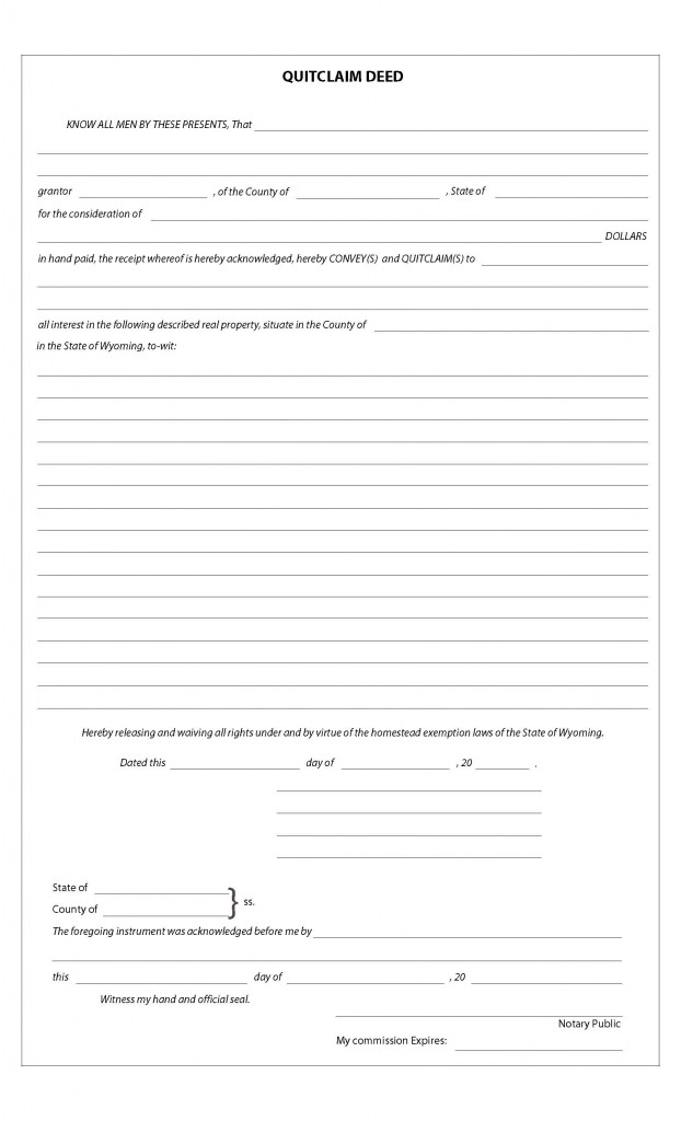 Wyoming Quit Claim Deed Form  Deed Forms  Deed Forms