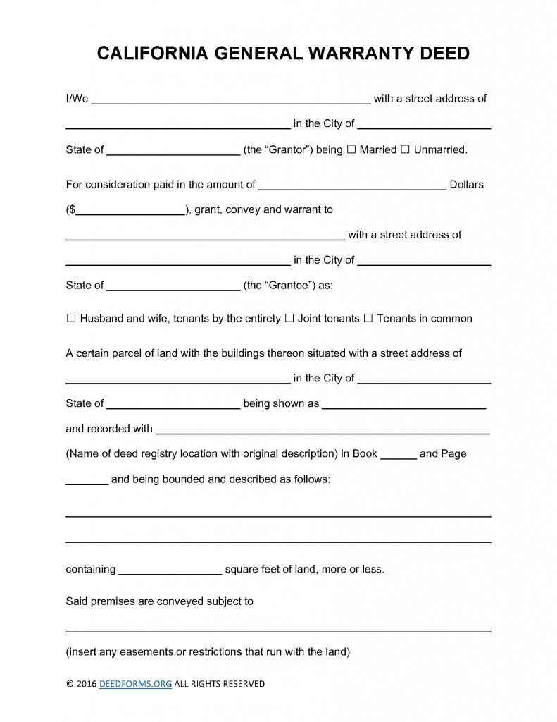 California General Warranty Deed Form