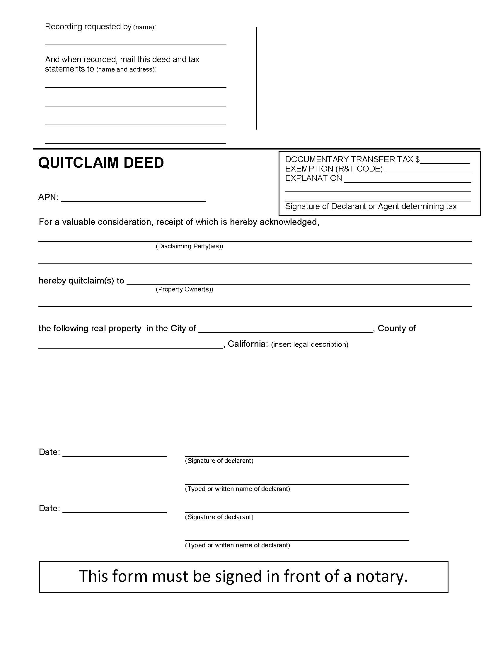 California Quit Claim Deed Form - Deed Forms : Deed Forms