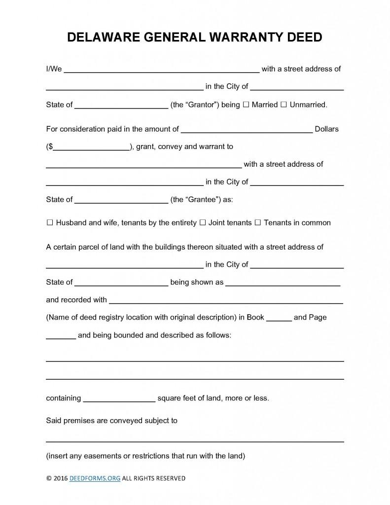 Delaware General Warranty Deed Form