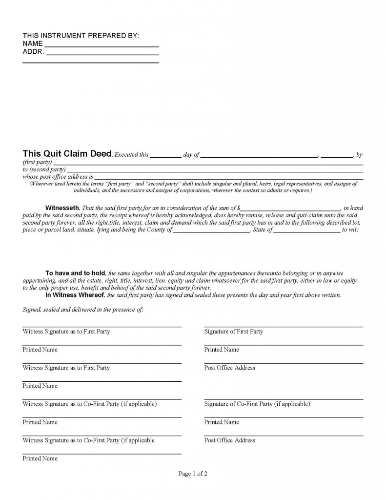 quick claim deed form for florida  Florida Quit Claim Deed Form - Deed Forms : Deed Forms