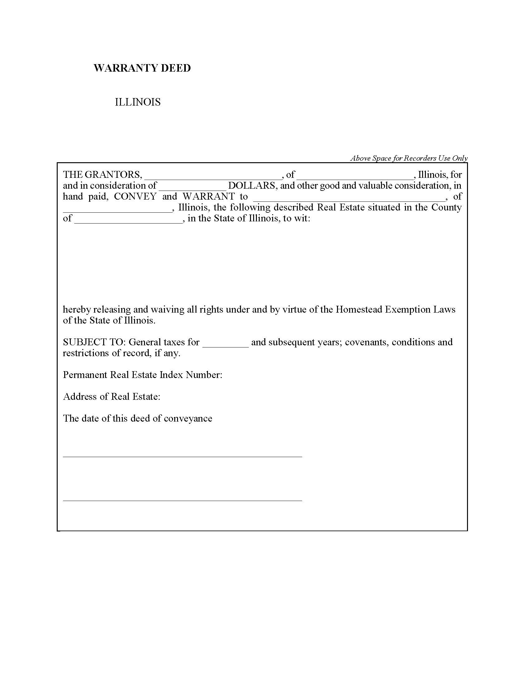 Illinois General Warranty Deed Form - Deed Forms : Deed Forms
