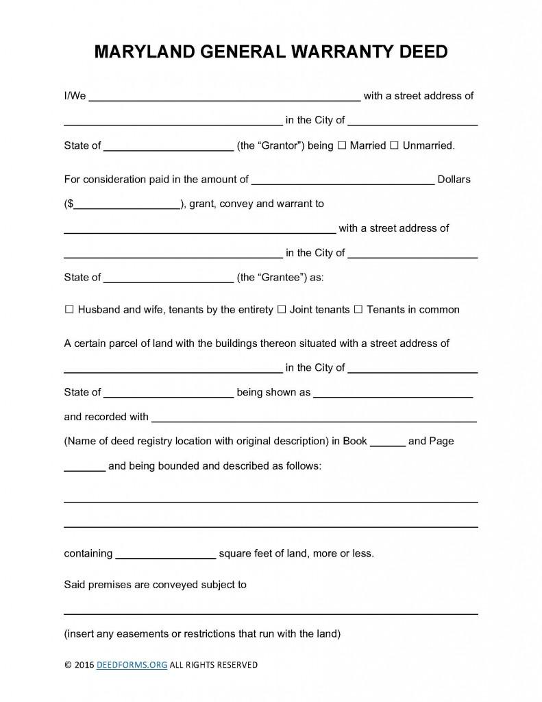 Maryland General Warranty Deed Form