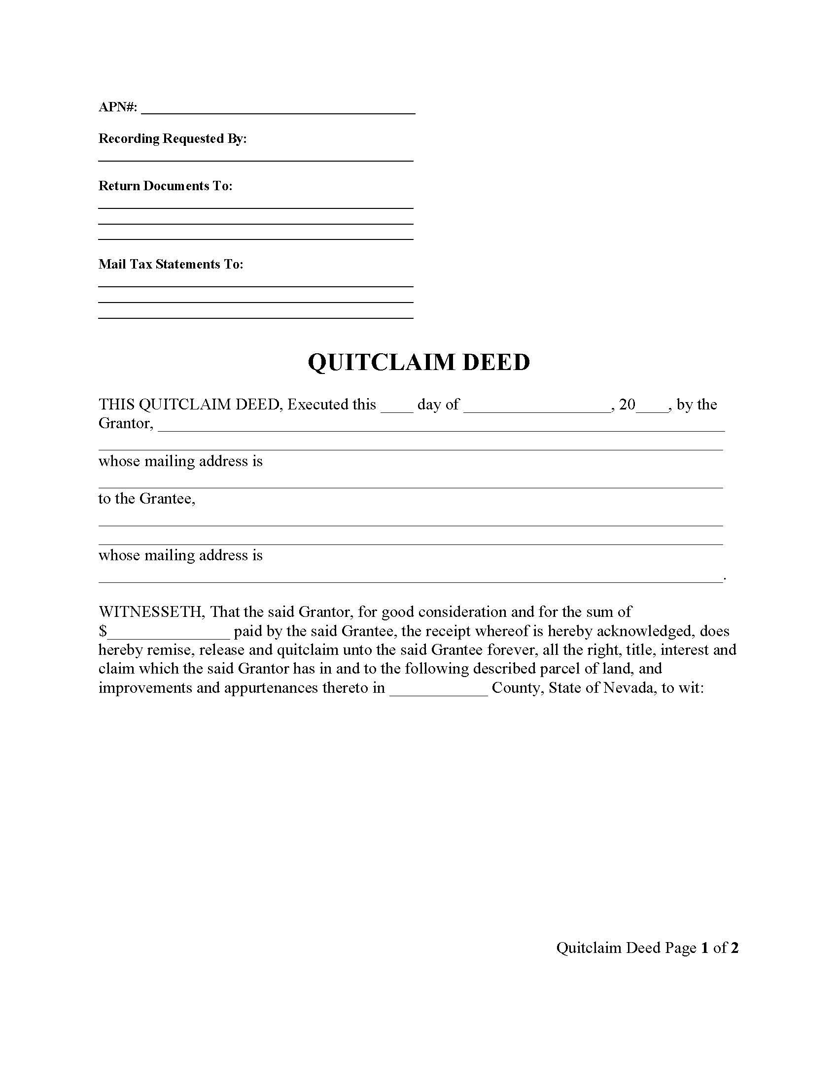 quit claim deed form nevada  Nevada Quit Claim Deed Form - Deed Forms : Deed Forms