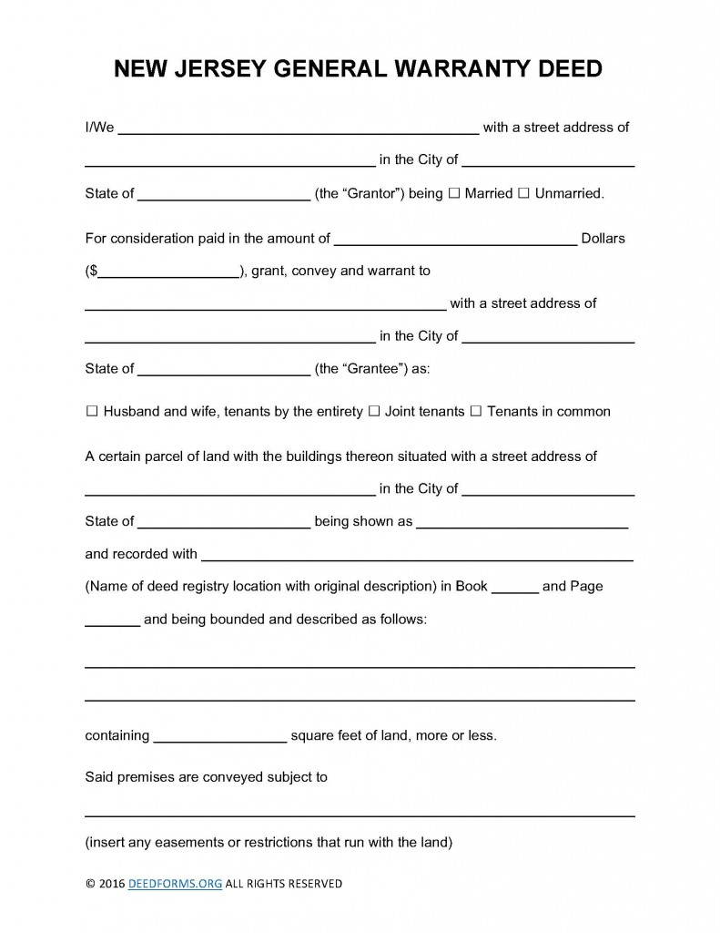 New Jersey General Warranty Deed Form