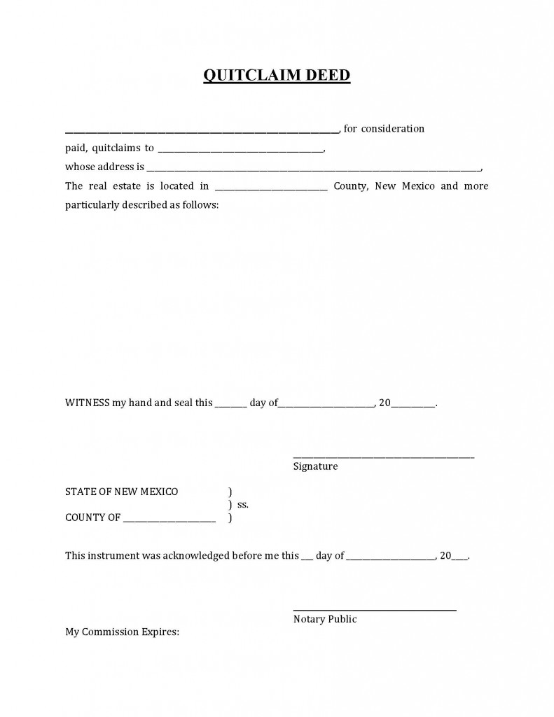 New Mexico Quit Claim Deed Form