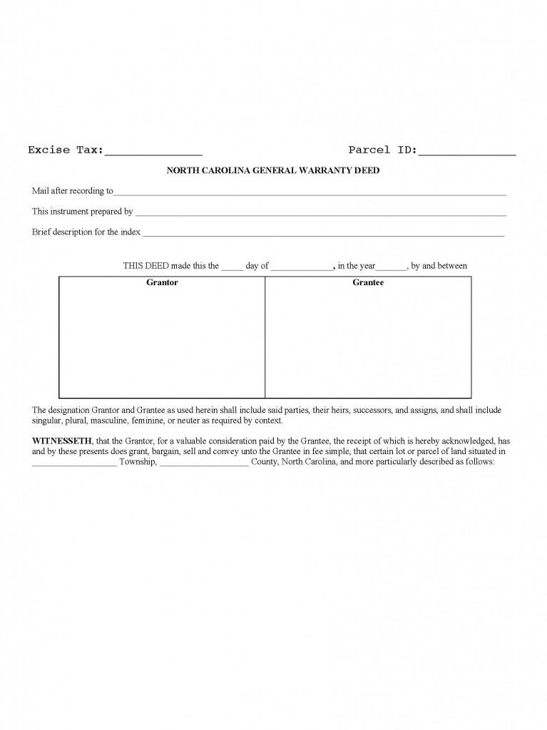 North Carolina General Warranty Deed Form