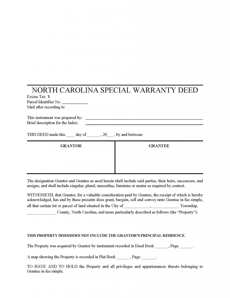 North Carolina Special Warranty Deed Form