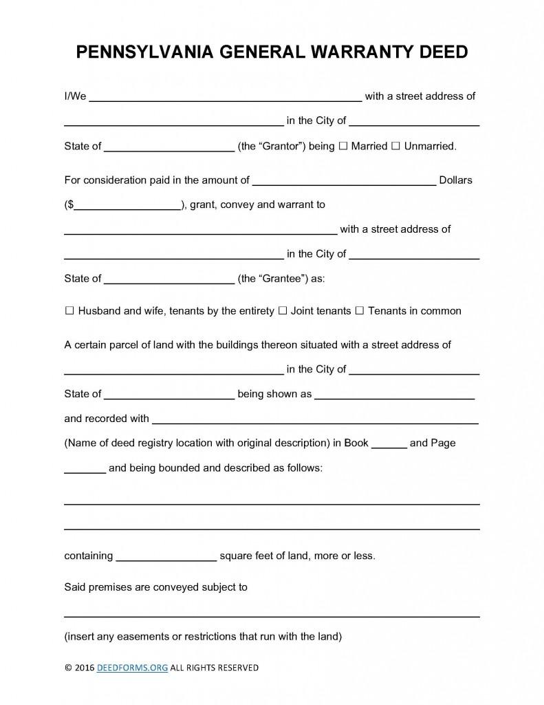 Pennsylvania General Warranty Deed Form