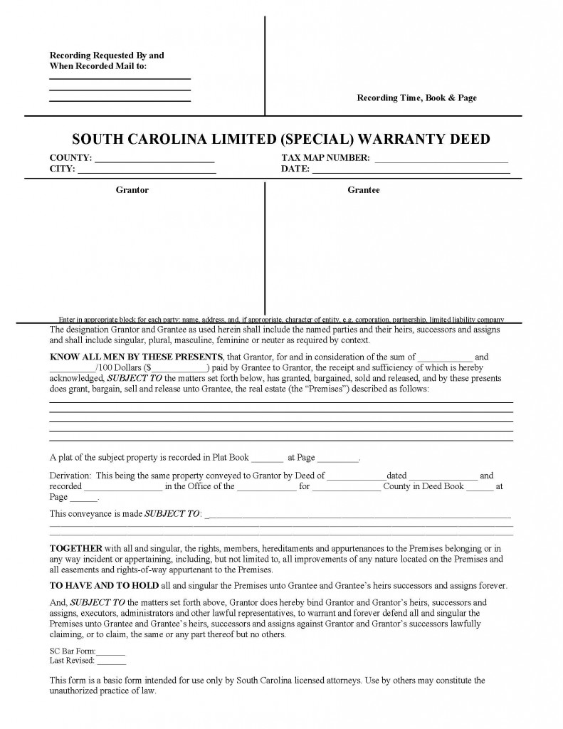 South Carolina Special Warranty Deed Form