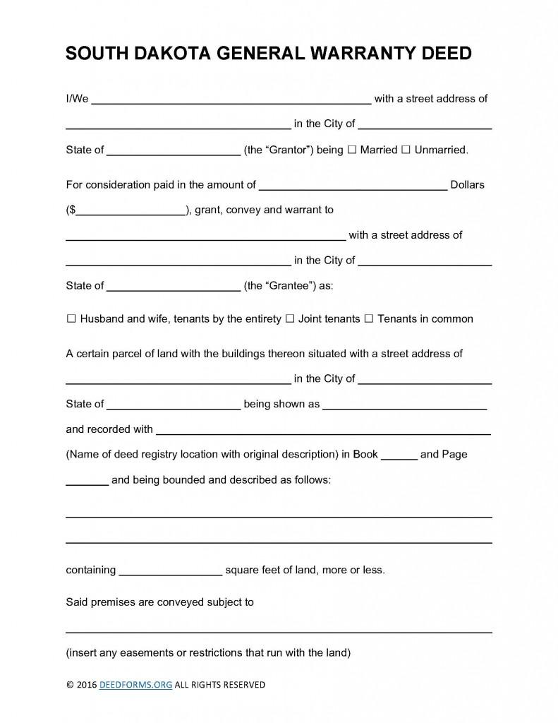 South Dakota General Warranty Deed Form