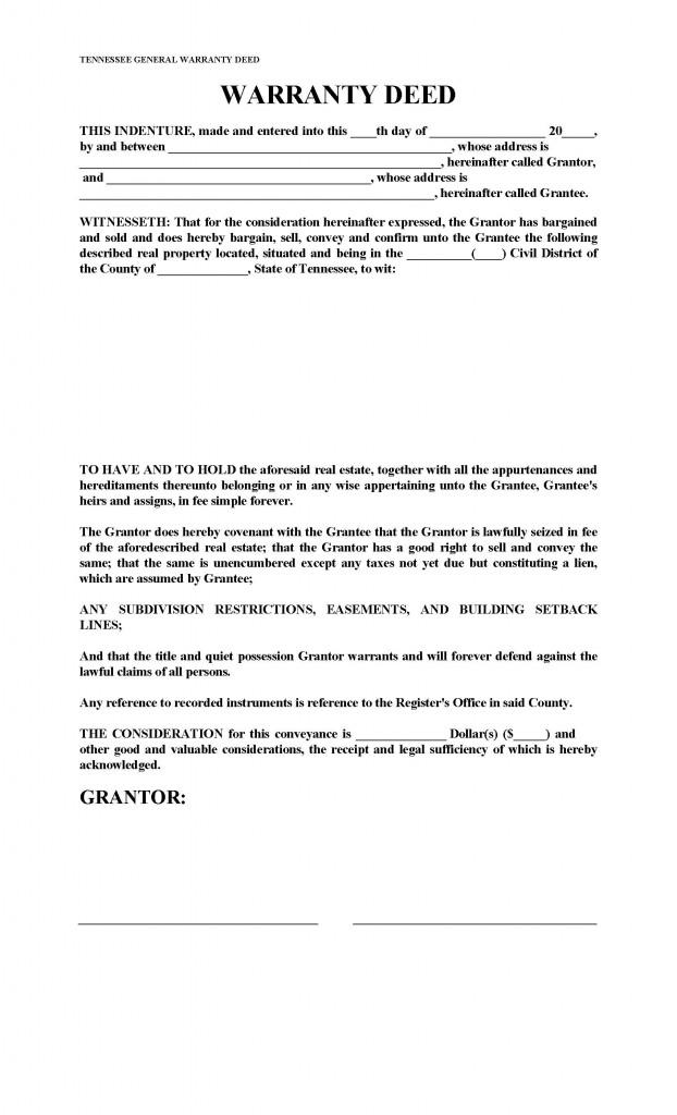 Tennessee General Warranty Deed Form