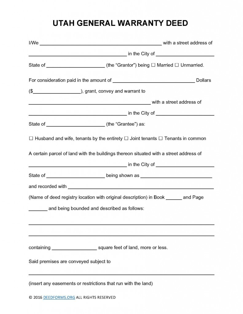 Utah General Warranty Deed Form