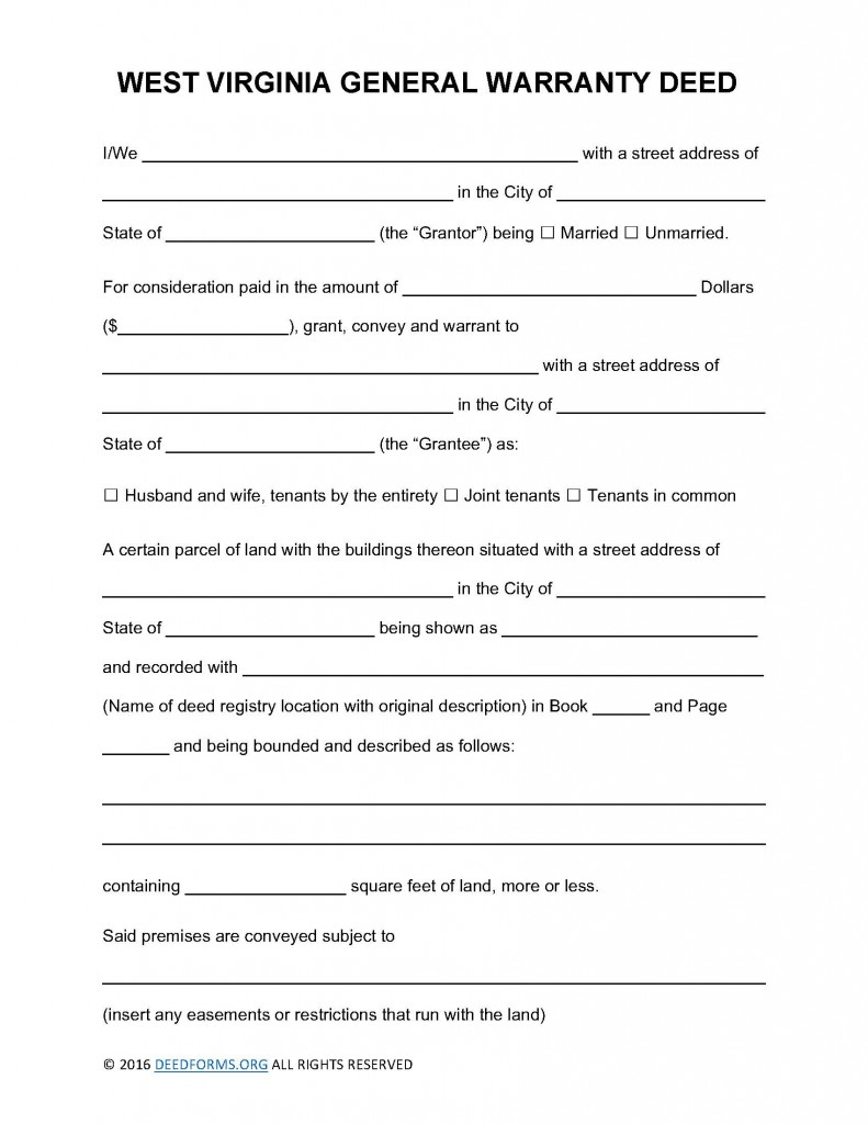 West Virginia General Warranty Deed Form