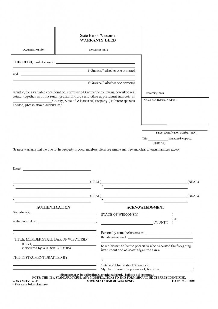 Wisconsin General Warranty Deed Form