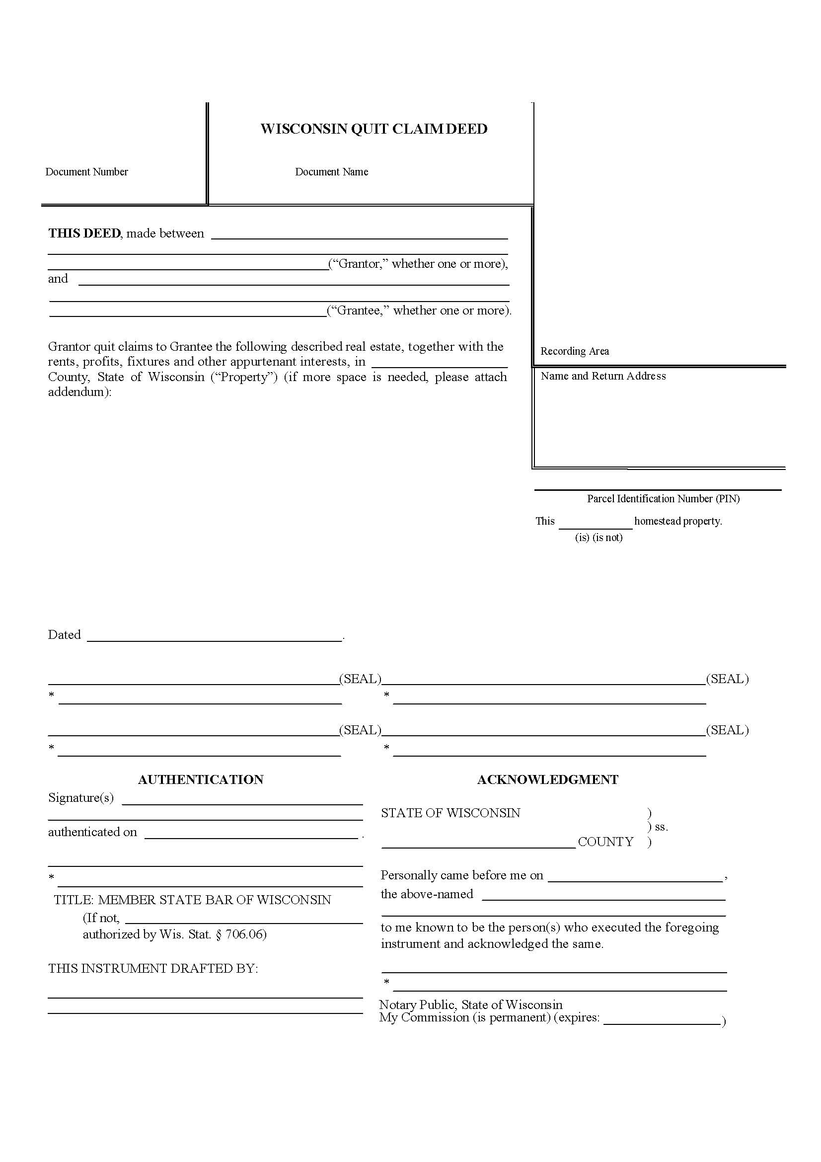 quit claim deed form wisconsin  Wisconsin Quit Claim Deed Form - Deed Forms : Deed Forms